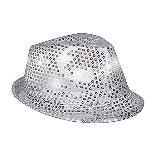 Fun Central O750 Silver LED Sequin Fedora, LED Light Up Hat, LED Sequin Fedora Hats For Women, Fedora Hats for Men -