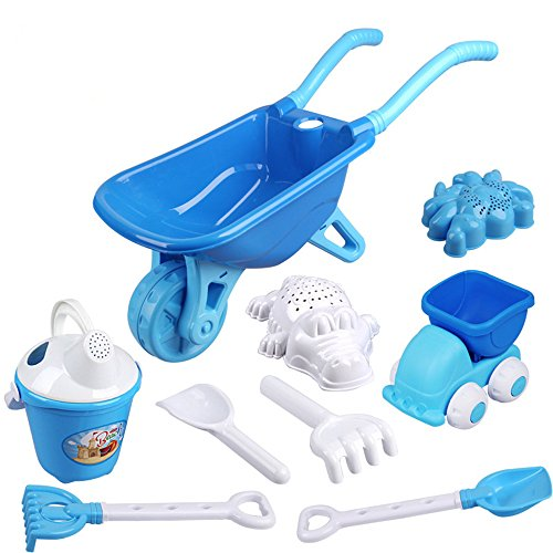 s-ssoy-9-pieces-beach-toy-set-wheelbarrow-truck-rake-shovel-bucket-watering-can-and-2-molds-kids-bea
