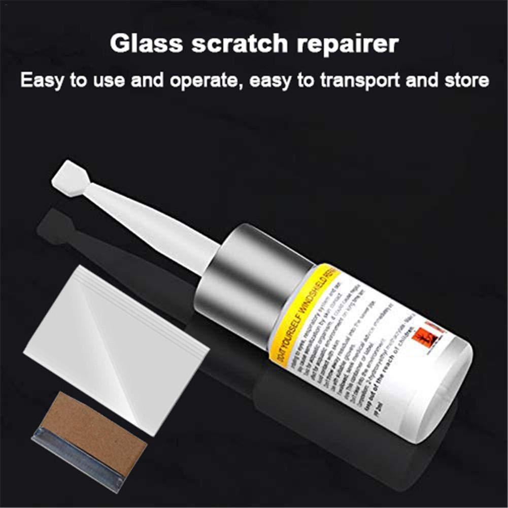 kingpo Glass Scratch Repairer Auto Glass Repair Fluid Kit de reparaci/ón de Parabrisas Juego de Tres Piezas