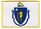 "Massachusetts Flag Embroidered Patch / Iron-On Emblem by Backwoods Barnaby (U.S. State MA, 2.5"" x 3.5"")"