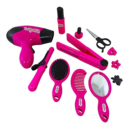 Toy Make Up For Little Girls Includes Battery Operated Hair Dryer, Battery Operated Hair Straightner, Toy Curling Iron, Hair Combs And Cute Little Mirror