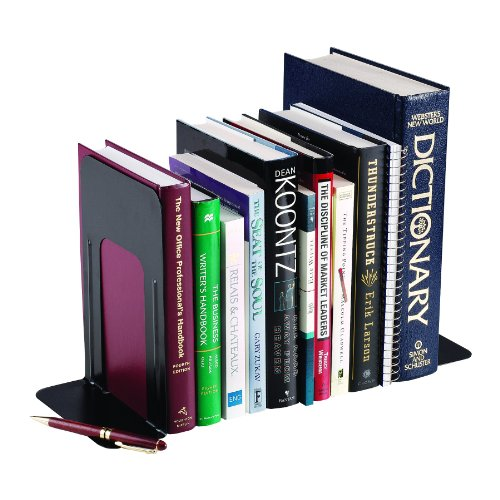 MMF Industries 9-Inch Non-Skid Base Steel Bookends, Pair (241009104) - Edge Reinforced Bookcase Finish