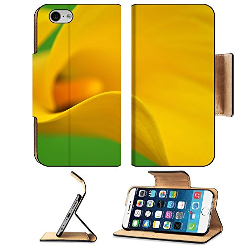 Liili Premium Apple iPhone 6 iPhone 6S Flip Pu Leather Wallet Case iPhone6 IMAGE ID: 6564658 Yellow calla closeup on green background