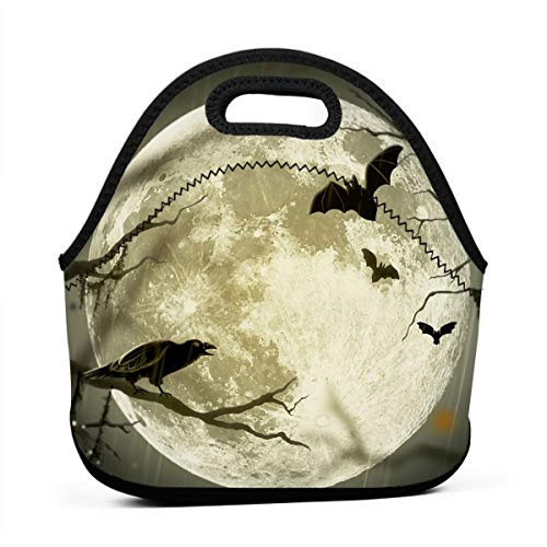 (Janeither Halloween Moon Illustration Art Portable Reusable Lunch Bag Waterproof Picnic Tote Insulated Cooler Zipper)