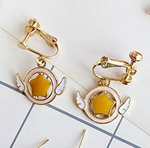 Screw Back Clip on Earring Clip for No Piercing Dangle Wing Angel Enamel Gold Plated for Teens