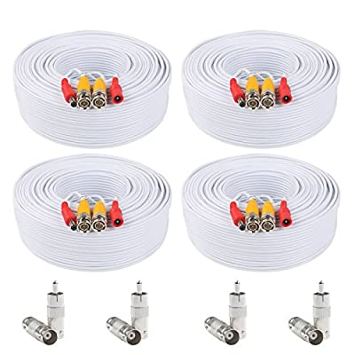 Postta BNC Video Power Cable Pre-made All-in-One Video Security Camera Cable Wire with two Connectors for CCTV DVR Surveillance System-4PK
