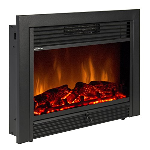 Best Choice Products SKY1826 Embedded Fireplace Electric Insert Heater  Glass View Log Flame Remote Home, 28.5