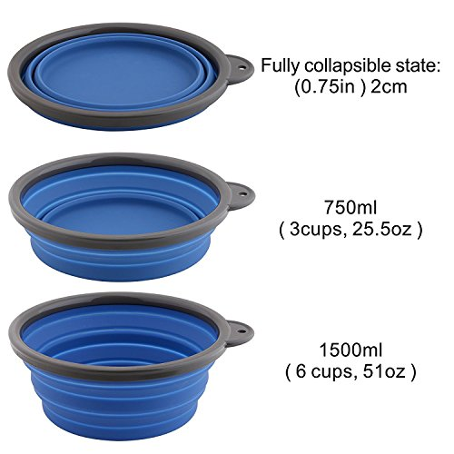Roysili Extra Large Collapsible Dog Bowl, BPA Free Travel Bowl for Dog Cat Food Water, Foldable Cup Dish Feeder, Portable Travel Dog Bowl