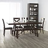 WE Furniture 6 Piece Solid Wood Trestle Style Dining Set - Espresso