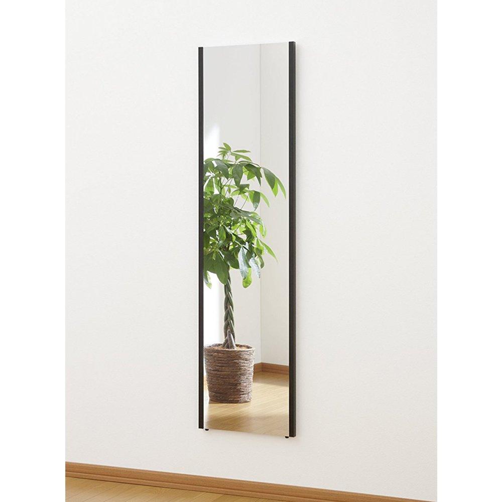 割れない鏡 ミラー 太枠フレーム 全身 姿見 軽量 日本製 幅40 高さ150 ブラック B073W7PKZ3 幅40×高さ150cm ブラック ブラック 幅40×高さ150cm