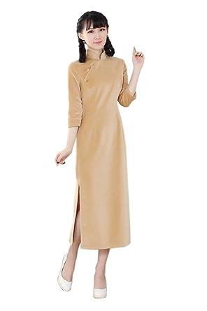 YueLian Damen Frauen Sommer Herbst Lange QiPao Kleid Cheongsam 3/4 Ärmel:  Amazon.de: Bekleidung