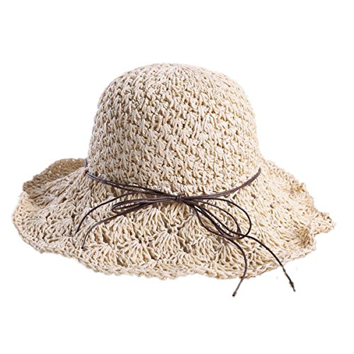 bbffdc11882 ... Best buy Foldable Packable Weave Bow Knot Lacing Floppy Sun Straw Hat  Shade Summer Beach