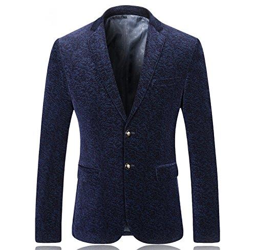SUNNY SHOP Mens Blazer Slim Fit Navy Blue Corduroy Jacket Men Vintage Velvet Blazer Men for Prom