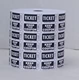 Raffle Tickets - (3 Rolls of 2000 Double Tickets) 6,000 Total 50/50 Raffle Tickets (Black)