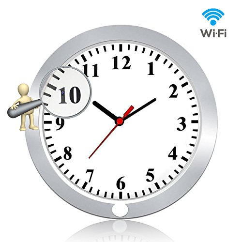 Newwings 1080P WiFi Hidden Camera Wall Clock Wireless Spy Camera Nanny Cam with Motion Detection, Indoor Covert Security Camera for Home and (Hidden Clock)