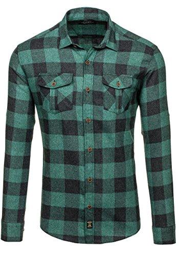BOLF Hombre Camisa Casual Franela Manga Larga Cuadros Slim Fit 2B2 Motivo Verde