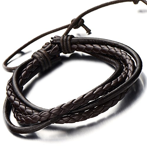 Hand-made Mens Brown Braided Leather Bracelet Multi-strand Genuine Leather Wristband Wrap Bracelet