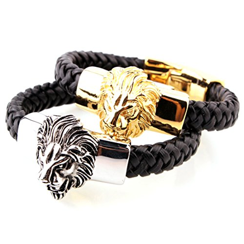 New Fashion Men's Stainless Steel Silver/Gold Lion Heads Cuff Black Leather Bracelet (Silver Black)
