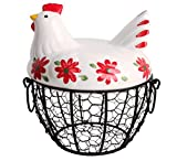 Kitchen Storage Metal Wire Egg Basket with Ceramic Farm Chicken Cover Egg Holder / Organizer Case / Container