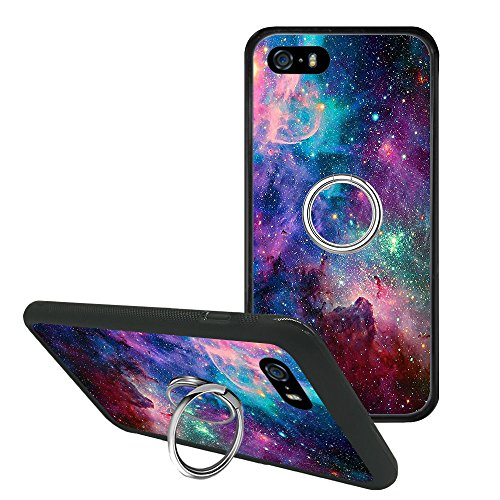 iPhone 5s Case, Purple Galaxy Sky Space iPhone SE/5 Non-Slip Case Cover with Ring 360 Rotating Pop Phone Grip Stand Holder