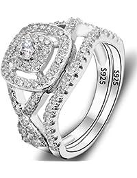 925 Sterling Silver Elegant Full Pave CZ Wedding Engagement Ring Set Clear