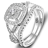 Best EVER FAITH Wedding Ring Sets - EVER FAITH 925 Sterling Silver Elegant Full Pave Review