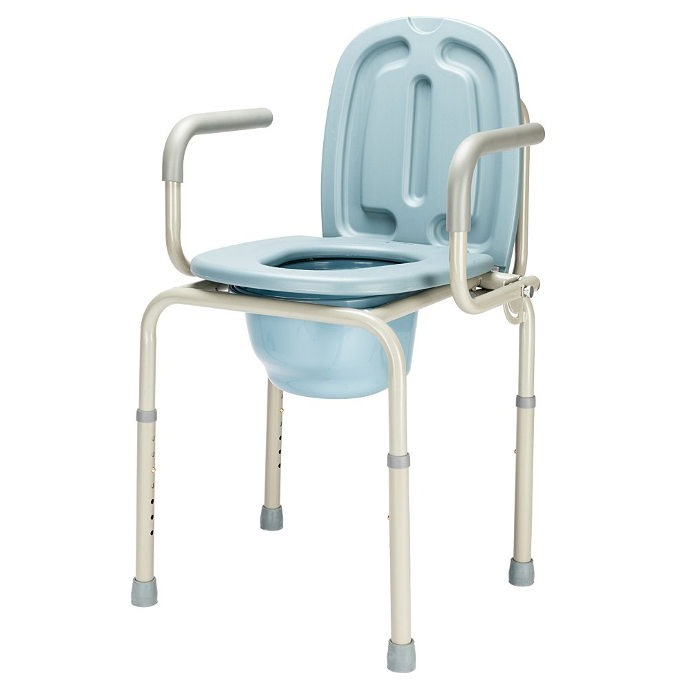Mefeir FDA Approved 450lbs Drop Arm Medical Bedside Commode Chair, Homecare Toilet Bath Show Seat with Safety Steel Frame, 8 Quart Capacity Pail, Adjustable Height Support Tool-Free Assembly