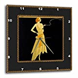 3dRose LLC dpp_39590_3 Wall Clock, 15 by 15-Inch, ''Art Deco Lady on Black with Gold Frame''
