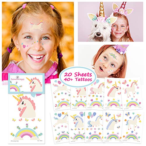 Unicorn Temporary Tattoos for Kids Unicorn Party Favors, Rainbow Unicorn Sticker Birthday Decorations and Supplies - Non-toxic Waterproof Pack of 20 Sheets - 40+ Fake Tattoos]()