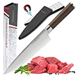 Premium Chef Knife Japanese Style 8 Inch - Multipurpose Balanced Ultra Sharp Professional Carbon Stainless Steel GERMAN Blade Ergonomic Wood Handle Wasabi Knife Set + Magnetic Holder by Amosteel