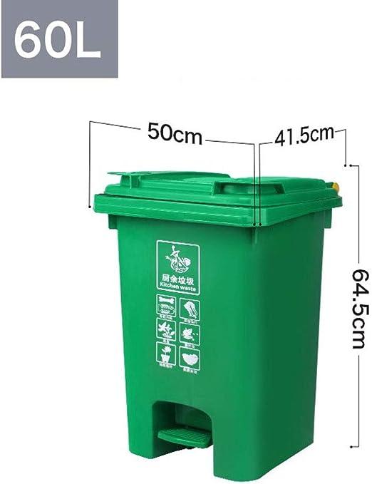Alf Papelera de Exterior Cubo de Basura al Aire Libre Tipo de contenedor de Almacenamiento de saneamiento 70L Contenedores de Basura de jardín (Color : Green, Size : 60L): Amazon.es: Hogar