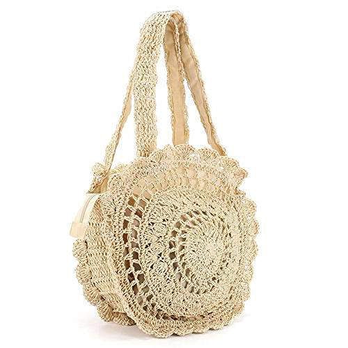 Handbag Beach Bag Round Women Bag Summer Crochet Straw Shoulder 6vgYqxZn