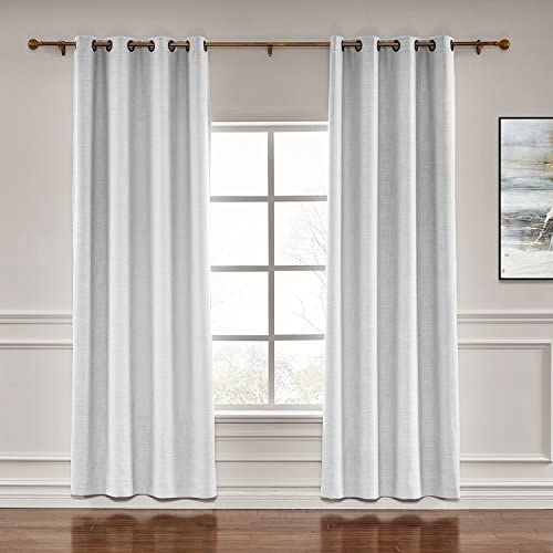 TWOPAGES Darkening Grommet Drapes Liz Faux Linen Curtains with Blackout Lining Drapery Panel for Living Room Bedroom Meetingroom Club Theater Patio Door 1 Panel , Beige White, 150 W x 102 L inch