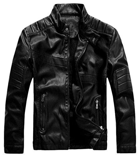 (chouyatou Men's Vintage Stand Collar Pu Leather Jacket (XX-Large, WZQM111-Black))