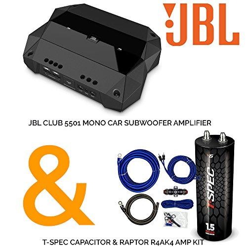 Amp Jbl Sub (JBL Club 5501 Mono Car Subwoofer Amplifier with T-Spec Capacitor & Raptor R4AK4 Amp Kit)