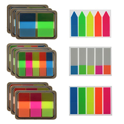 12 Sets Page Markers Page Index Tabs, Translucent Sticky Notes, 900 Pieces, Assorted Colors