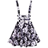 Bluetime Women High Waist Hollow Out Pleated Floral Print Suspender Braces Skirt