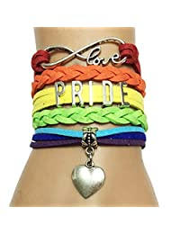 DOLON Rainbow Gay Lgbt Pride Lesbian Suede Braided Leather Bracelets Gift for Girls