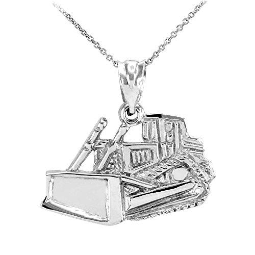 Collier Femme Pendentif 14 Ct Or Blanc Bulldozer (Livré avec une 45cm Chaîne)