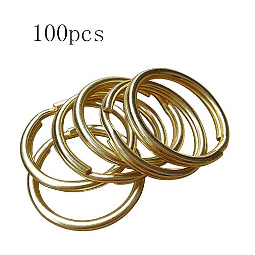 ROOS Diameter 32mm Solid Brass Key Ring DIY Hardware Accessories Pack of 10 (Solid Brass Key)