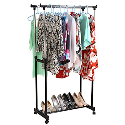 "Homdox Clothes Drying Rack, Heavy Duty Double Pole Rail Rod Adjustable Garment Rack Clothing Rack Outdoor Indoor Clothes Rack Hanger, with 4 360 degree wheels(2 with lock) - ✔ STURDY & DURABLE - Homdox clothes rack made of big diameter carbon steel tube and premium ABS plastic, The anti-rust construction perfect for everyday garments and long service time. ✔ ADJUSTABLE DESIGN - The both rail can be adjusted from 35.9 "" - 60.8 "", Provides more space for hanging clothes. And it can be used in dorm rooms, laundry rooms, bedrooms and so on. ✔ CONVENIENT TO MOVE - 4 omni directional rubber wheels with ball bearings (2 with locking brake) allow the unit to be moved anywhere when loaded, letting you easily move your clothes from place to place. - laundry-room, entryway-laundry-room, drying-racks - 51u zu X6cL. SS400  -"