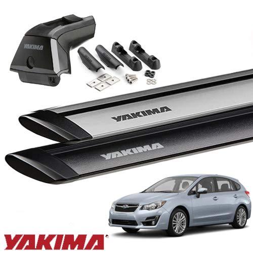 [YAKIMA 正規品] スバル インプレッサハッチバック GP, GJ系 フィックスポイント付き車両 ベースラックセット(スカイラインタワー+ランディングパッド11×2+ジェットストリームバーS) ブラック B071NHZK8M
