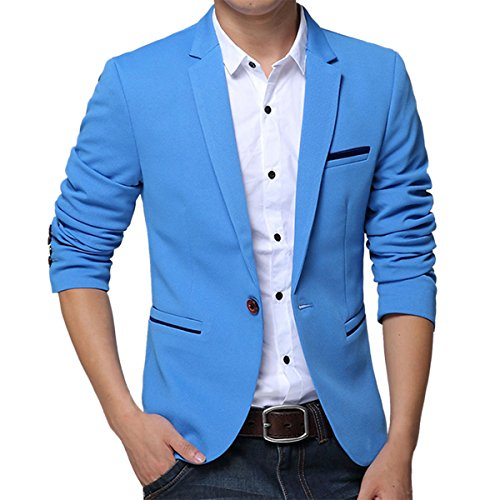Pishon Men's Slim Fit Suits Casual One Button Flap Pockets Solid Blazer Jacket, Sky Blue, Tag Size 4XL=US Size L