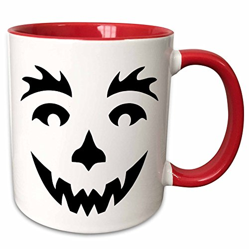 3dRose Anne Marie Baugh - Halloween - Cute Black Smiling Halloween Pumpkin Face - 11oz Two-Tone Red Mug (mug_216820_5) (Halloween Pumpkin Faces Pics)