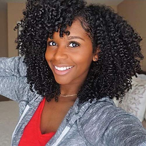 Julia Hair Afro Curly Wig Synthetic Lace Front Wig for Women Deep Curly Wave Full Head Wigs L Part with Bangs Glueless Heat Resistant Wigs with Cap Hair Replacement Wigs Natural Black Color