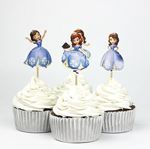 24 pcs Sofia the First Cupcakes toppers cupcake picks, sofia the first birthday decorationsprincess toppers ,princess cupcake party kids decoration