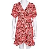 Retro Dress,Han Shi Womens Wrap Front Floral Print Short Sleeve V Neck Sundress (Hot Red, XL)