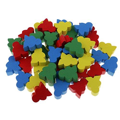 Homyl 子供 ボード ゲーム おもちゃ 人の形 木製 チェス 積み木 知育玩具 50個入り