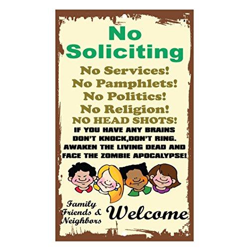 No Soliciting No Services No Pamphlets No Politics No Religion Metal Sign
