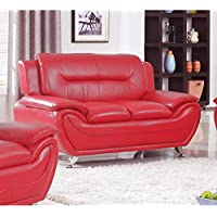 US Furnishing Express Alice Faux Leather Modern Lounge Loveseat